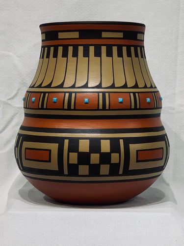 Large San Ildefonso Polychrome Olla by Cavan Gonzales