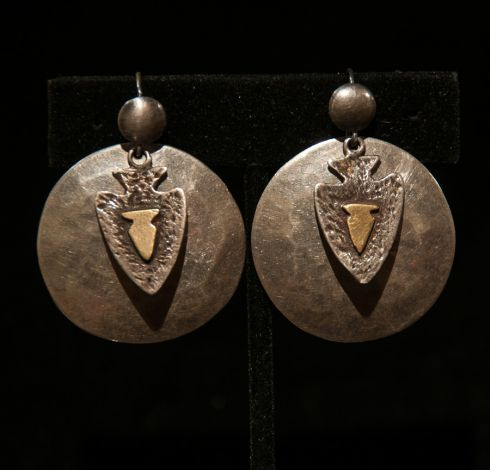 Hammered Silver Disks with Brass Arrowhead Dangles