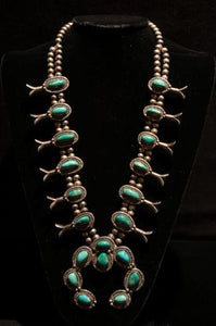 Squash Blossom Necklace with Eight Stone Naja