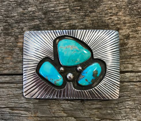 Heavy Silver Buckle with 3 Large Turquoise