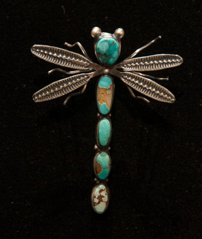 Turquoise Dragonfly Pin by Herbert Ration