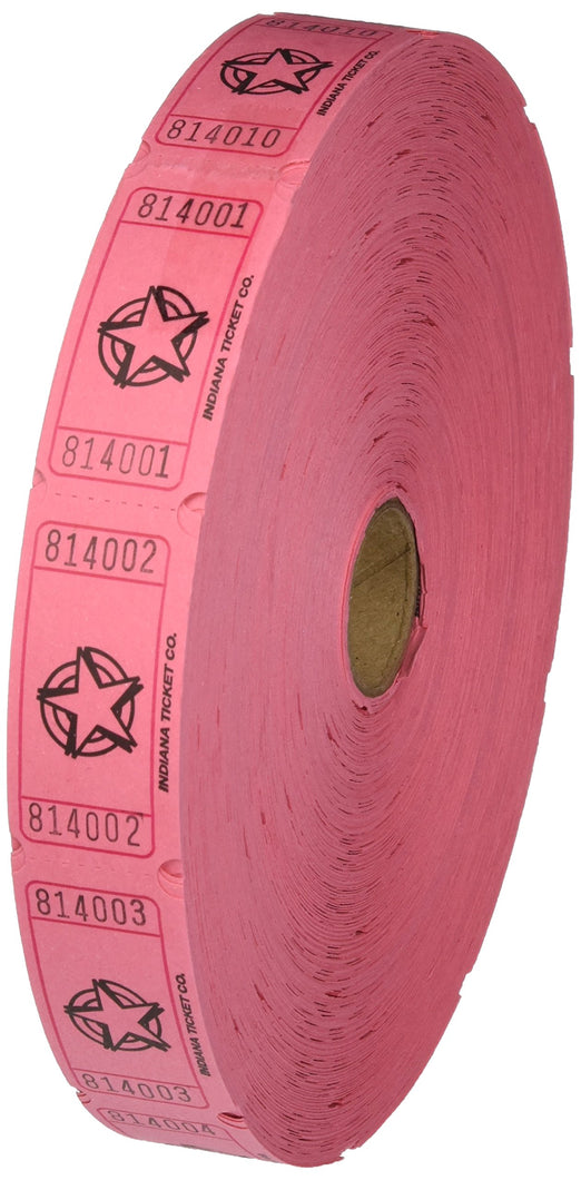Pink Single Roll Raffle Tickets W/Star