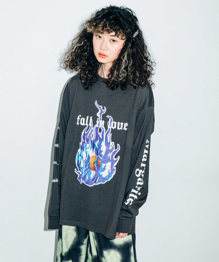 FALL IN LOVE L/S BIG TEE, T-SHIRTS, X-Girl
