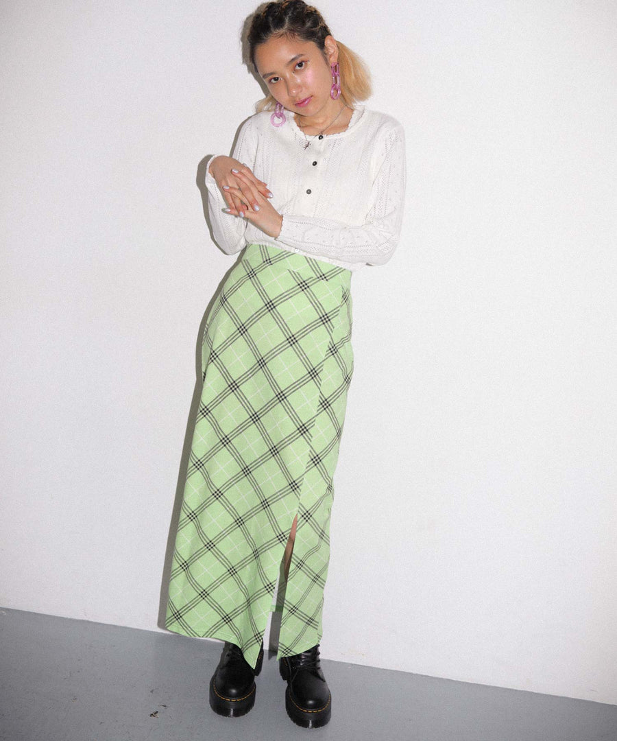 BIAS PLAID LONG SKIRT, SKIRTS, X-Girl