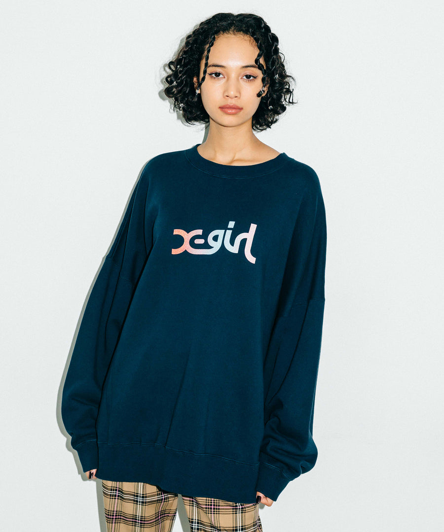 GRADATION MILLS LOGO BIG SWEAT TOP, HOODIES & SWEATERS, X-Girl