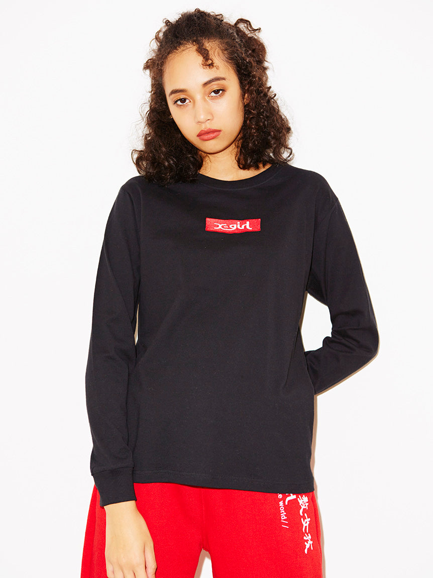 EMBROIDERED BOX LOGO L/S REGULAR TEE, T-SHIRTS, X-Girl