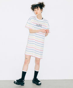 MULTI STRIPED H/S TEE DRESS, DRESS, X-girl