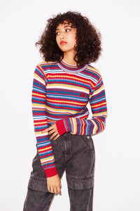 MULTI STRIPE HIGH-NECK KNIT TOP, HOODIES & SWEATERS, X-Girl