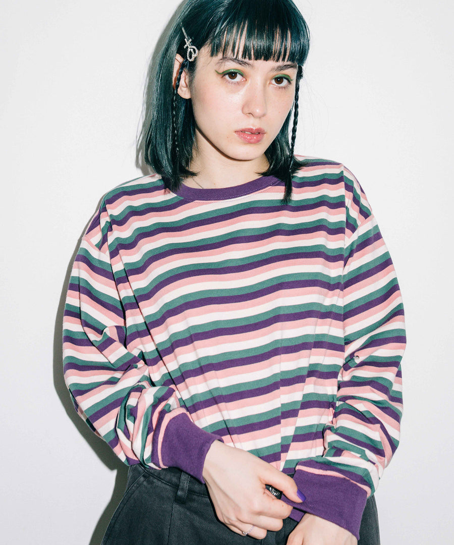 STRIPED L/S TEE, C&S, X-Girl