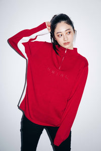 HALF ZIP KNIT TOP, HOODIES & SWEATERS, X-Girl