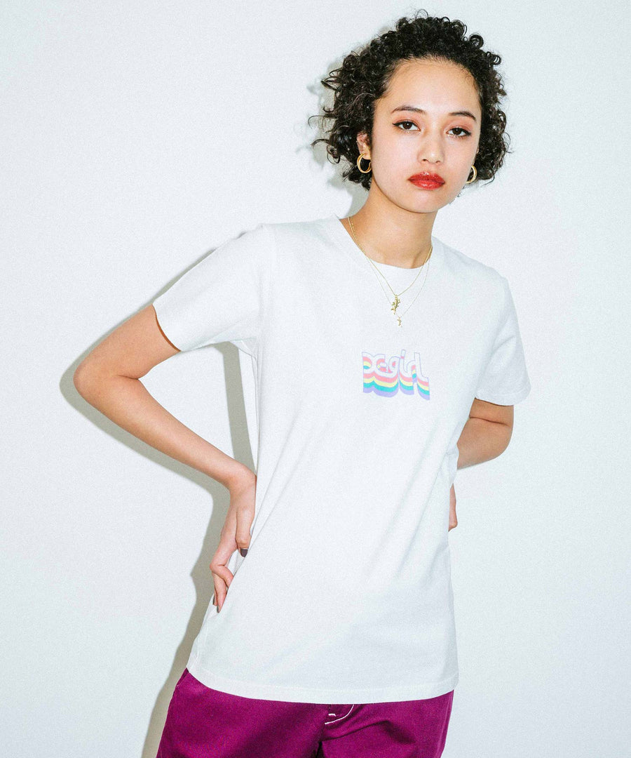 LAYERED MILLS LOGO S/S REGULAR TEE, T-SHIRT, X-Girl