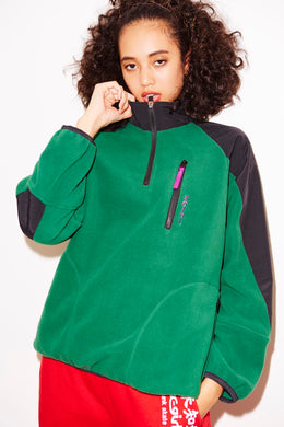 HALF ZIP FLEECE TOP, HOODIES & SWEATERS, X-Girl