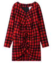 Load image into Gallery viewer, SHAGGY PLAID SHIRRED DRESS, DRESS, X-Girl