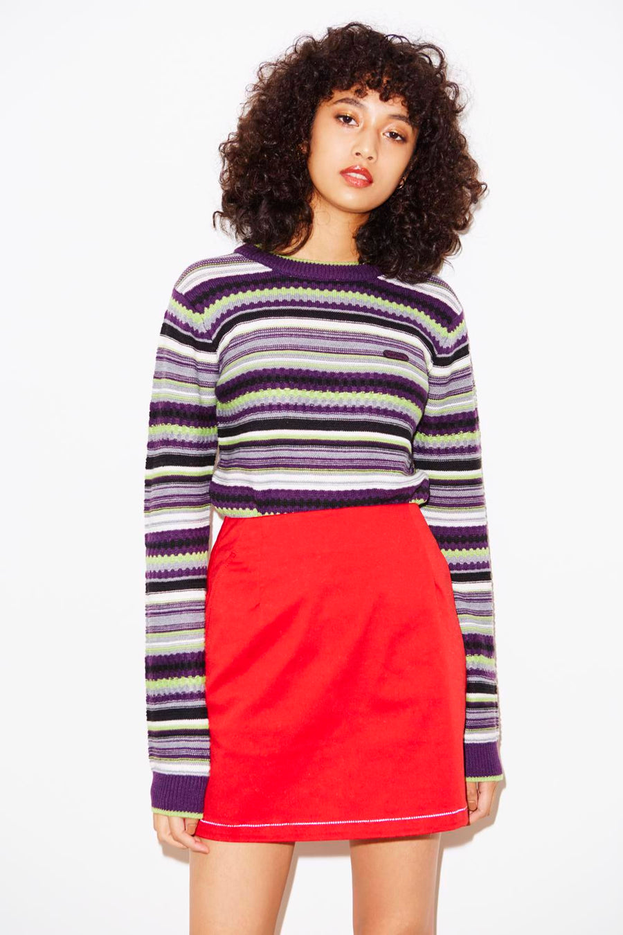 MULTI STRIPE CREWNECK KNIT TOP, HOODIES & SWEATERS, X-Girl