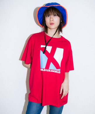 SQUARE LOGO S/S MENS TEE, T-SHIRT, X-Girl