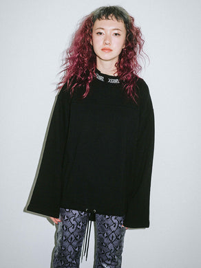 LOGO JACQUARD RIB SWEAT L/S TOP, HOODIES & SWEATERS, X-Girl