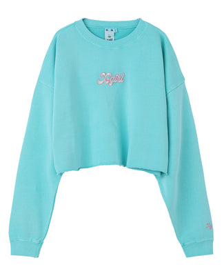 GLITTER LOGO SWEAT CROPPED TOP
