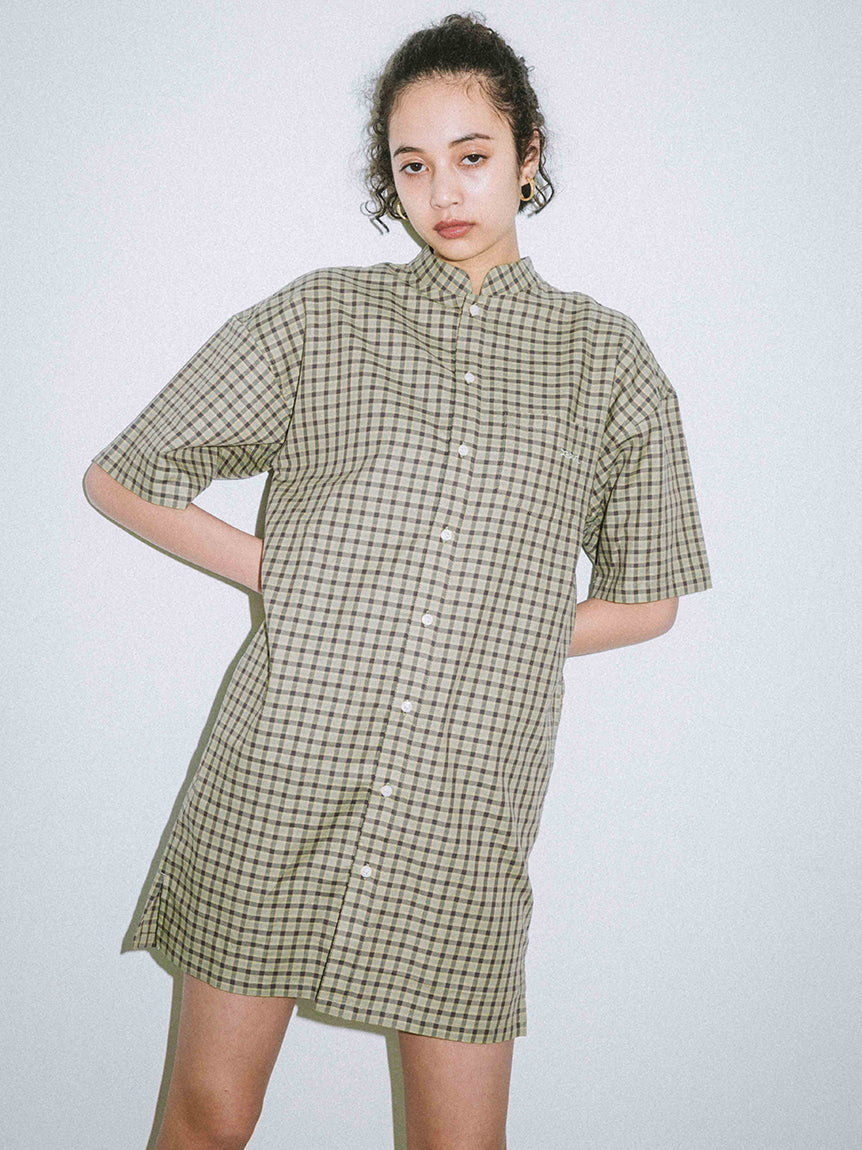 MAO COLLAR PLAID DRESS, DRESS, X-Girl