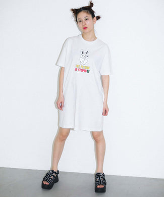 X-girl x KOZIK SMOKING BUNNY S/S TEE DRESS, DRESS, X-Girl