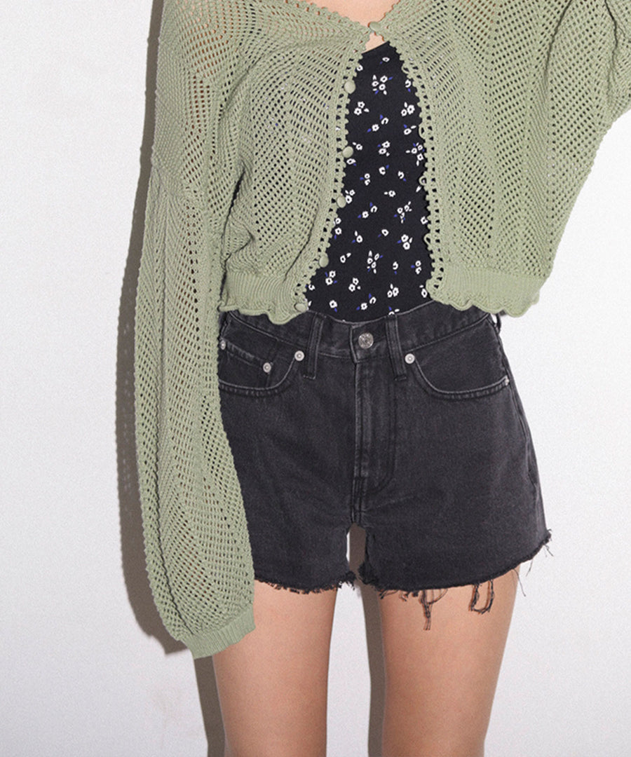 CUT OFF DENIM SHORT PANTS, SHORTS, X-Girl