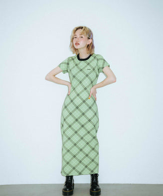 BIAS PLAID DRESS, DRESS, X-Girl