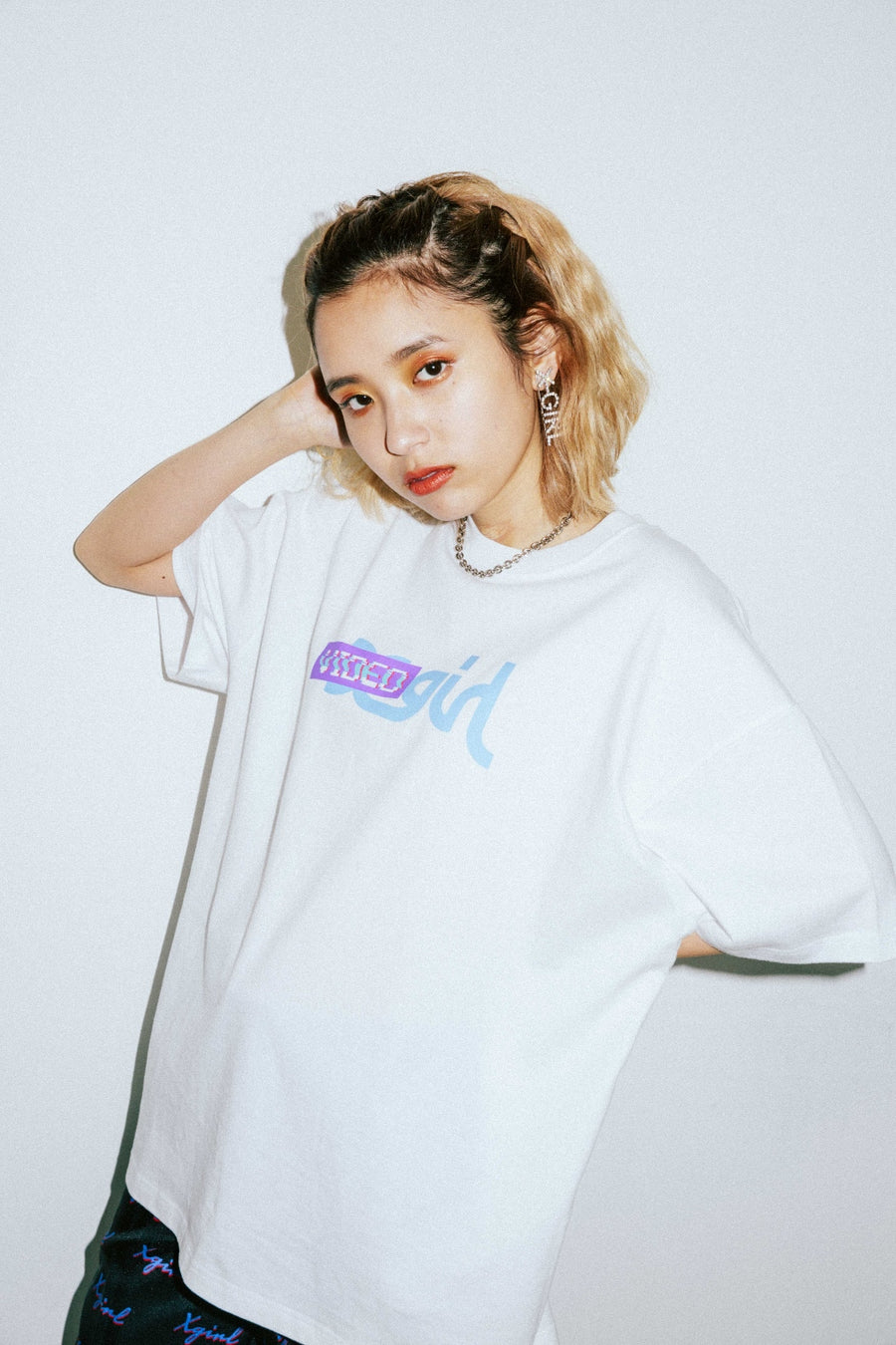 X-girl x VIDEO GIRL NOISE S/S MENS TEE