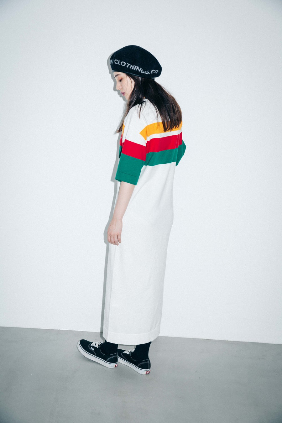 STRIPED KNIT H/S MAXI DRESS - X-Girl