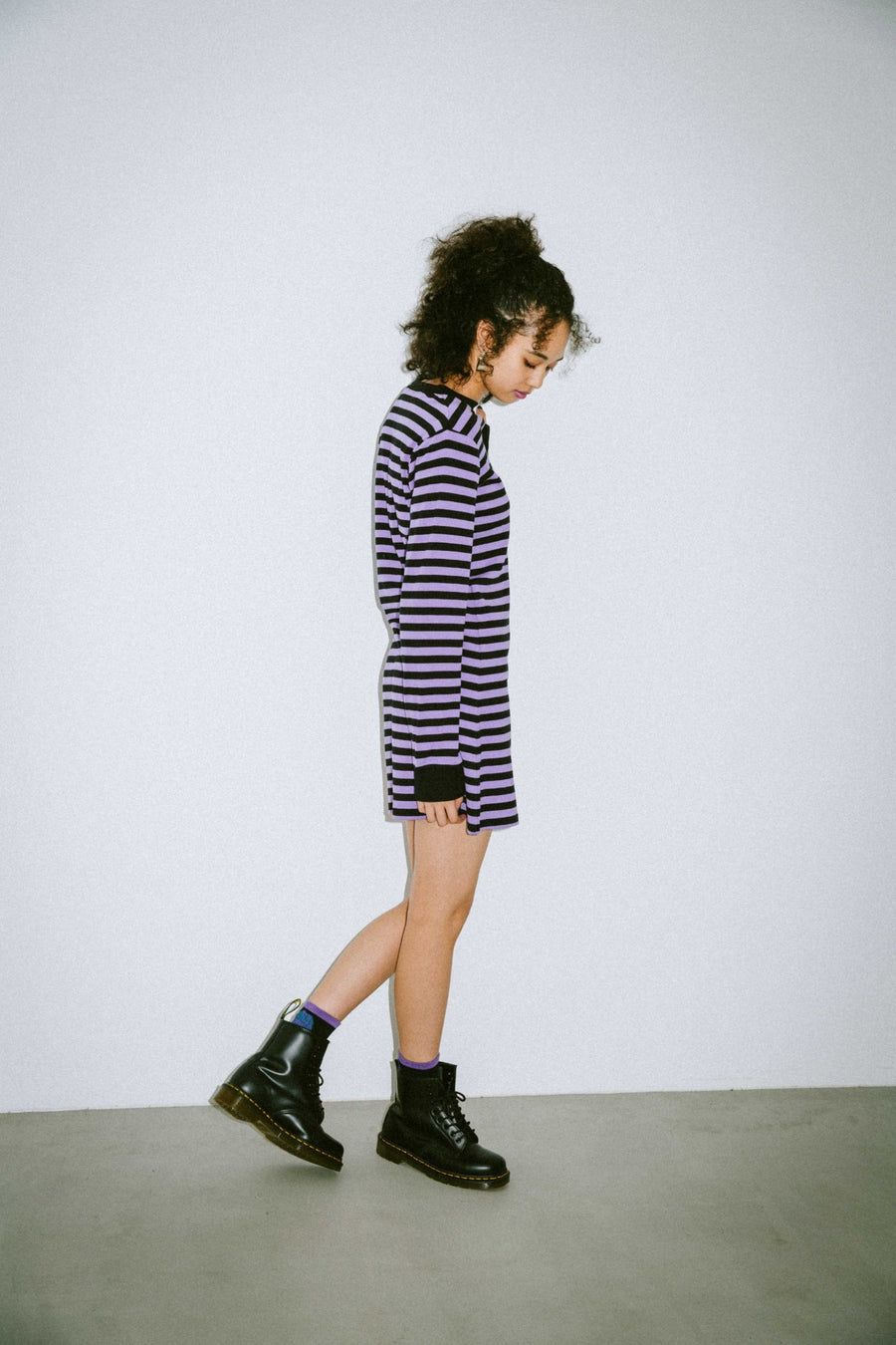 BASIC STRIPED L/S TEE DRESS