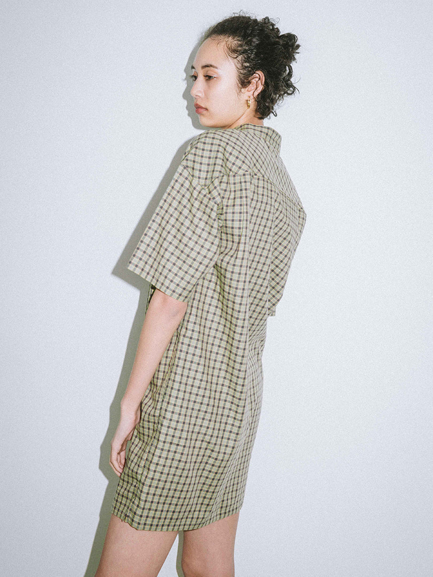 MAO COLLAR PLAID DRESS