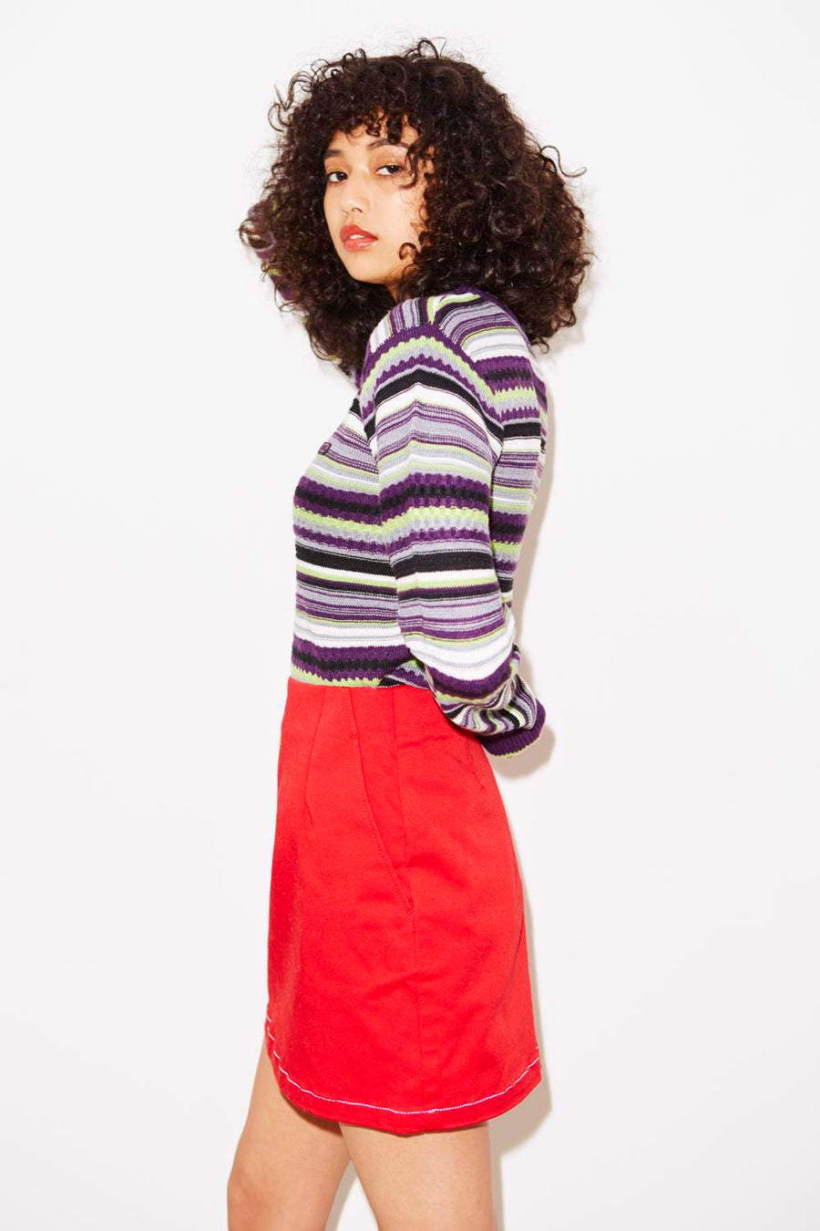 MULTI STRIPE CREWNECK KNIT TOP