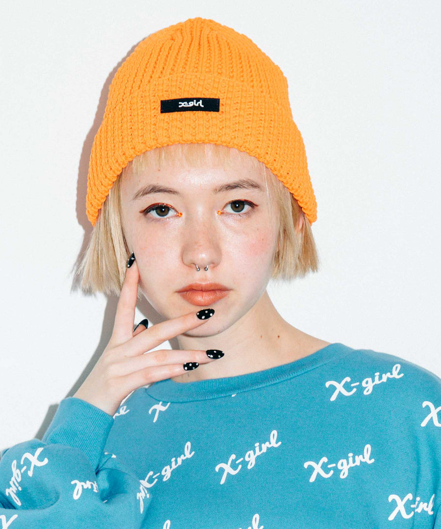 RUBBER BOX LOGO KNIT CAP, HEADWEAR, X-Girl