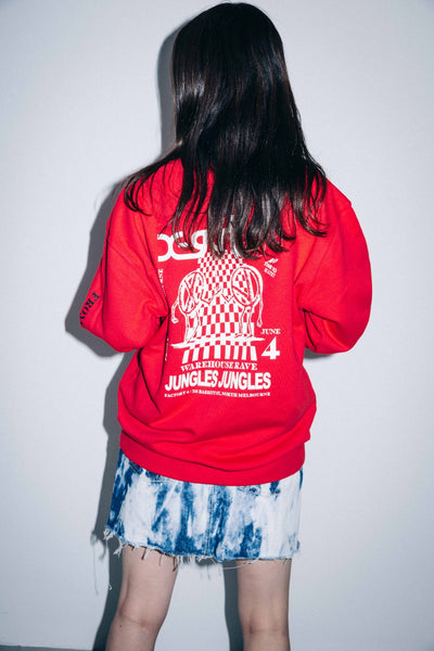 X-girl x JUNGLES WAREHOUSE RAVE CREW SWEAT TOP, HOODIES & SWEATERS, X-Girl