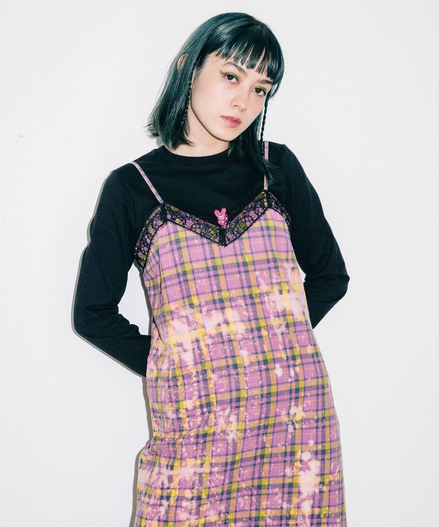 BLEACHED PLAID CAMI DRESS, DRESSES, X-Girl