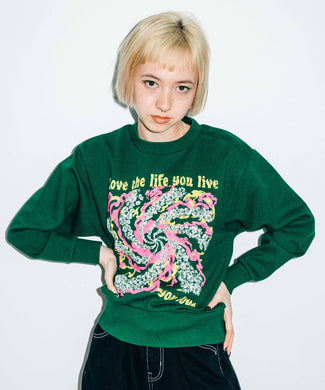 LOVE LIFE LIVE CREW SWEAT TOP, HOODIES & SWEATERS, X-Girl