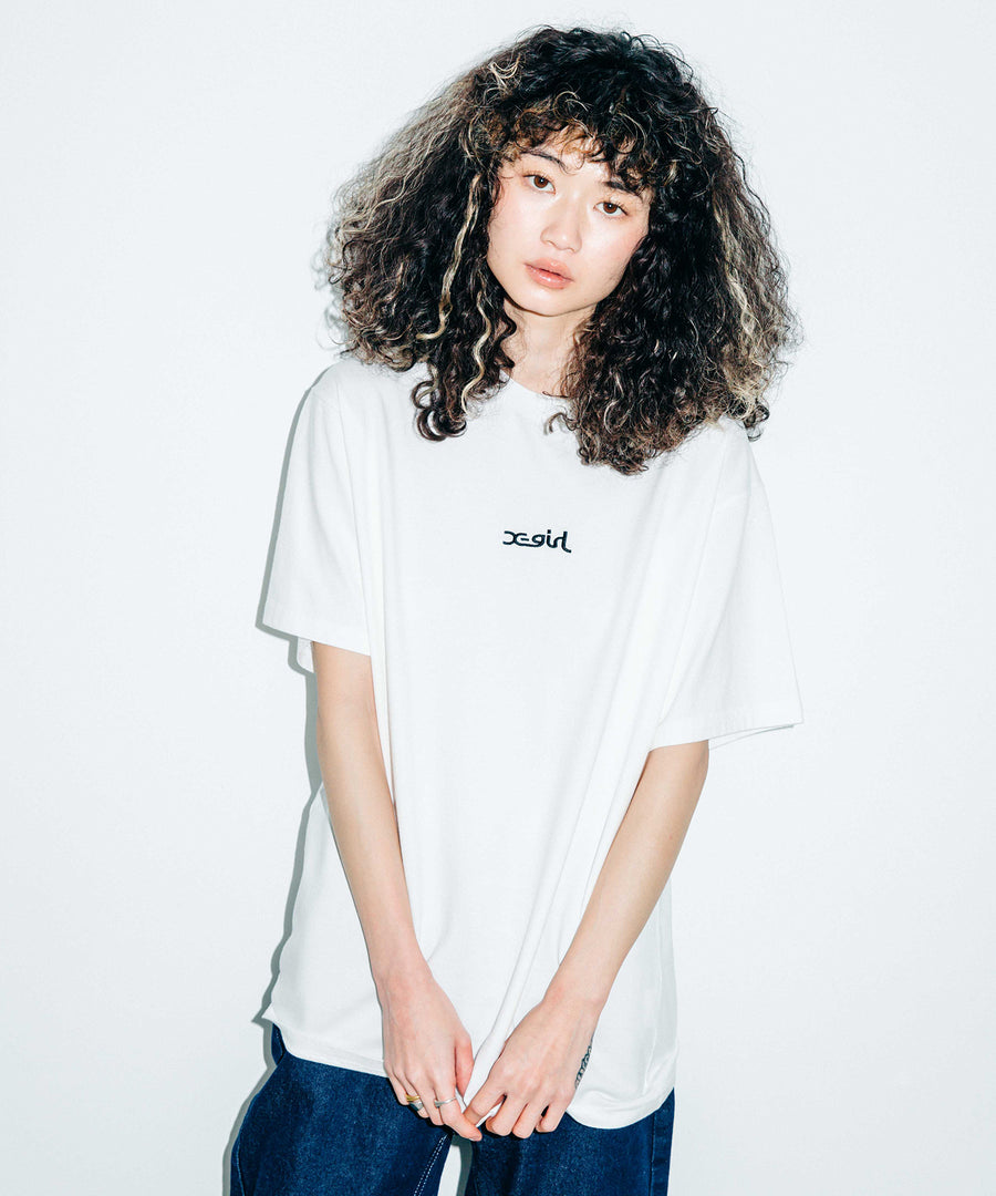 EMBROIDERED MILLS LOGO S/S TEE, T-SHIRT, X-Girl