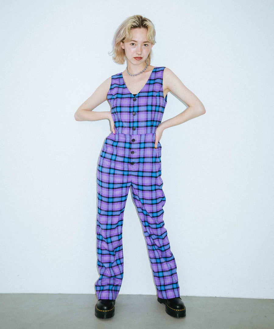 PLAID JUMPSUIT, PANTS, X-Girl