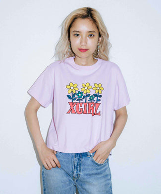 FLOWER CROPPED S/S TEE, T-SHIRT, X-Girl