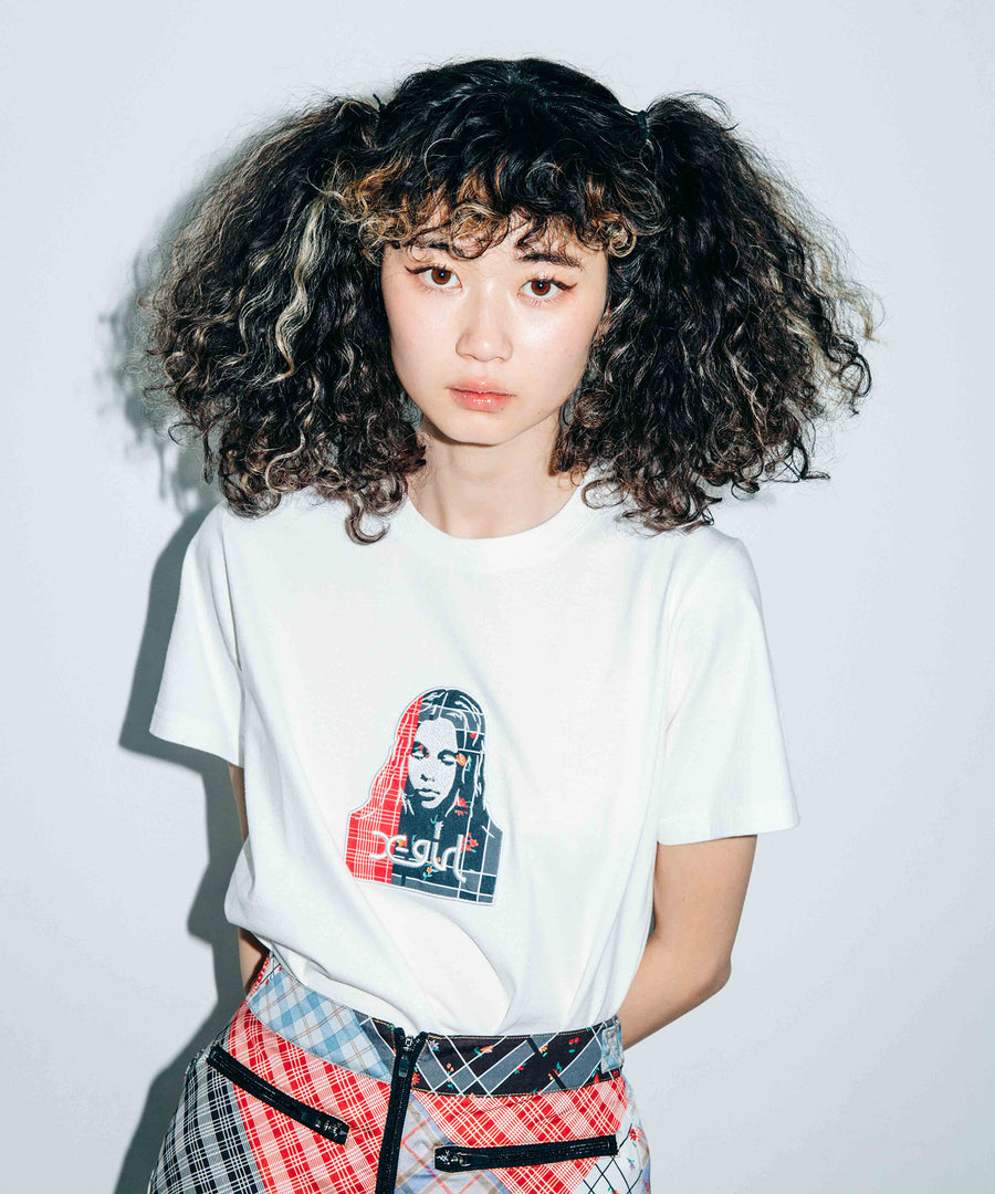PLAID PATCHWORK FACE S/S REGULAR TEE, T-SHIRTS, X-Girl