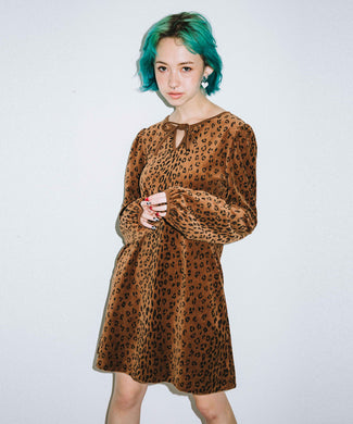 LEOPARD PUFF SLEEVE DRESS, DRESSES, X-Girl