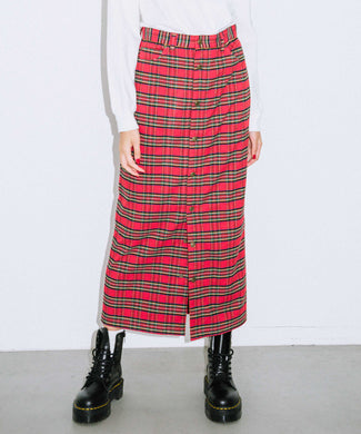 PLAID BUTTON-FRONT SKIRT, SKIRT, X-Girl