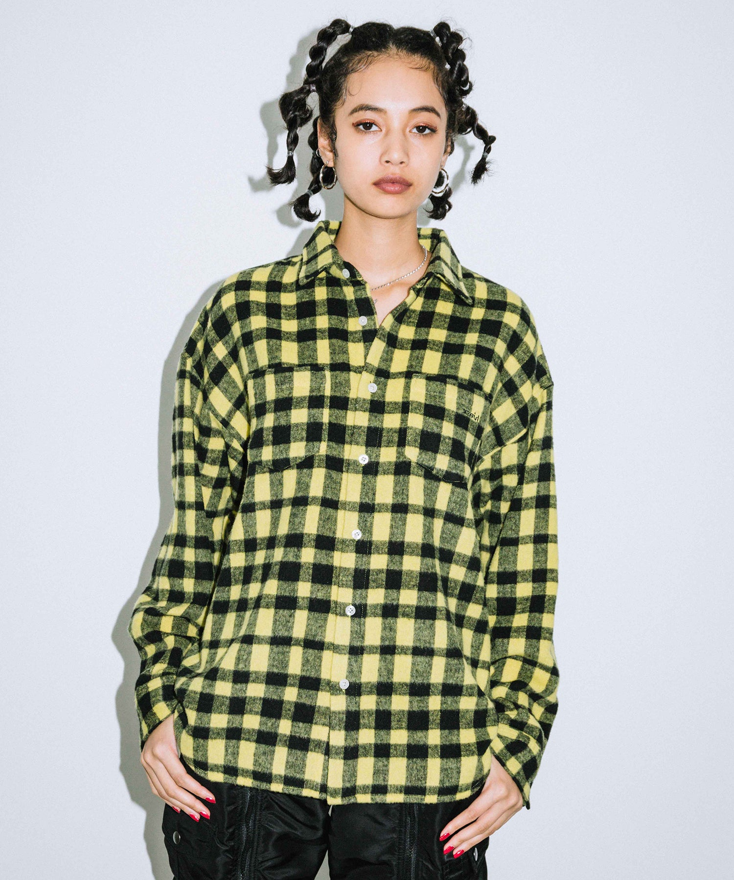SHAGGY PLAID L/S SHIRT, SHIRTS, X-Girl