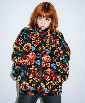 FLORAL STAND COLLAR BOA JACKET, OUTERWEAR, X-Girl