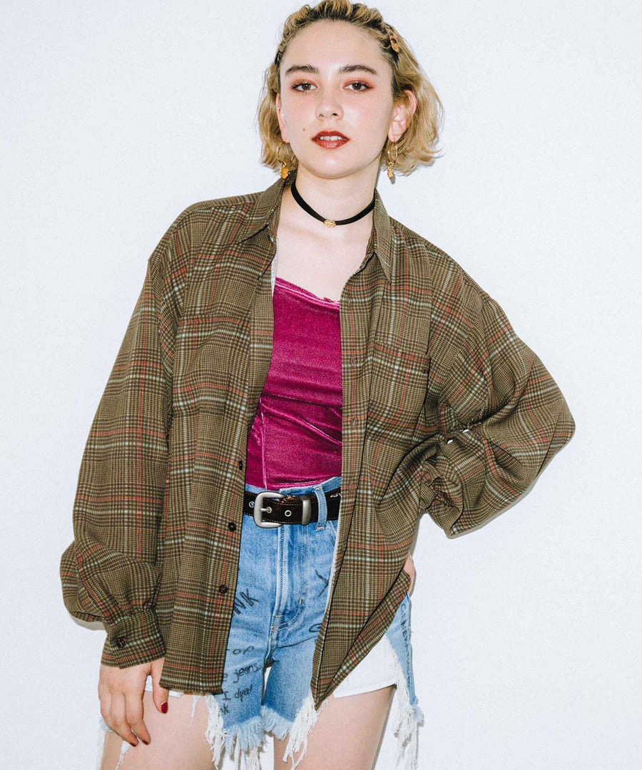SHEER PLAID SHIRT, SHIRTS, X-Girl