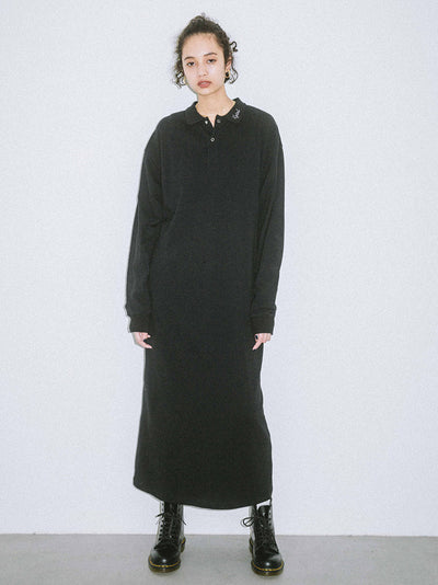 POLO L/S SHIRT DRESS, DRESSES, X-Girl
