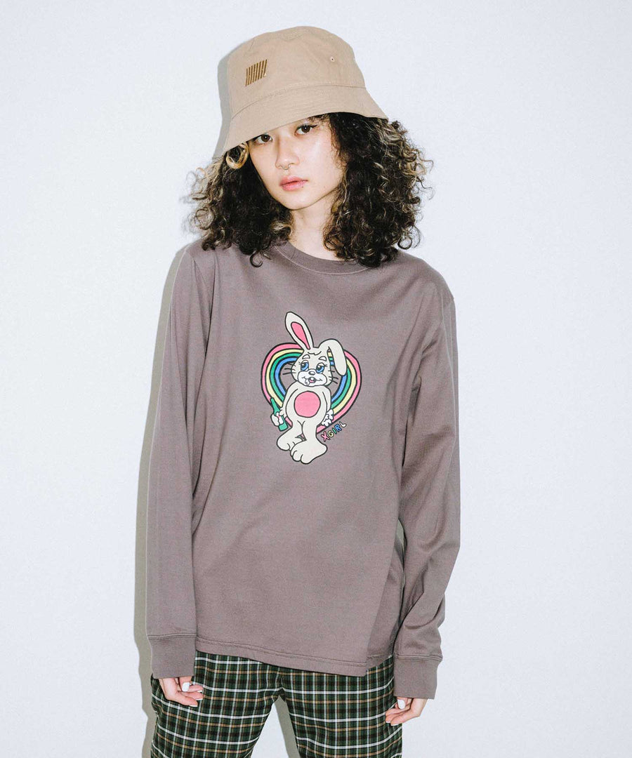 BUZZED BUNNY L/S REGULAR TEE, T-SHIRT, X-Girl