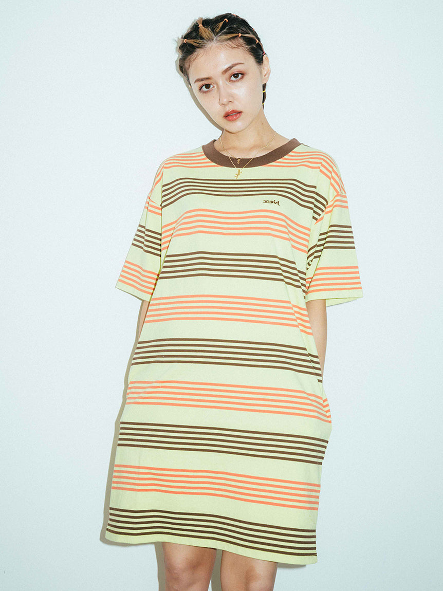 STRIPED H/S TEE DRESS, DRESSES, X-Girl