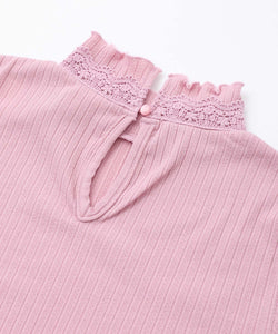 LACE TRIM HIGH NECK TOP, TOPS, X-Girl