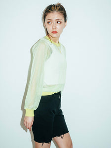 SHEER KNIT L/S TOP, SHIRT, X-Girl