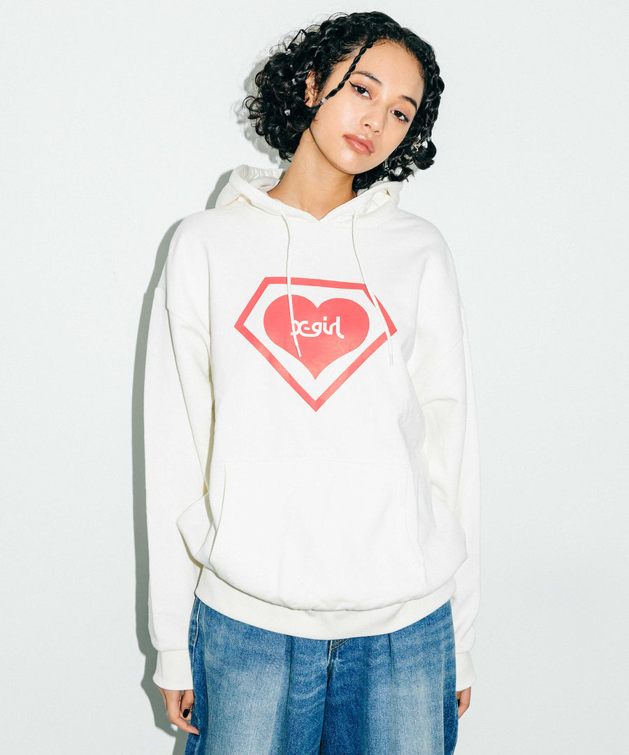 X-girl x SUPER LOVERS LOGO HOODIE, HOODIES & SWEATERS, X-Girl