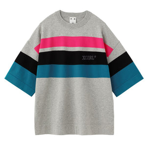 STRIPED KNIT H/S TOP, SHIRTS, X-Girl